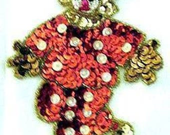 Sequins & Beaded Red White Polka Dot Clown (Small) Applique