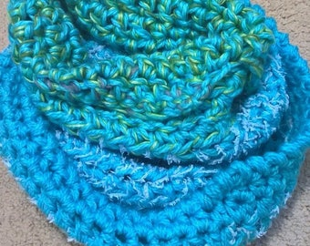 FREE DOMESTIC POST ends 29th May!Turquoise Warm Soft Cosy Snood/Collar/Cowl,Blue Crochet Infinity Scarf, Aqua Fashion Accessory,Gift for Her