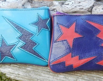 Handmade Leather zipper coin purse, elements design
