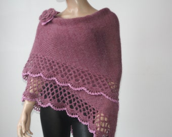 Knit Crochet Shawl Mohair / Triangle Shawl