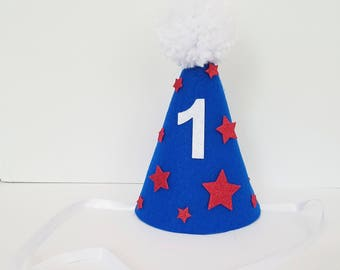 1st birthday 4th of July birthday hat, red, white and blue, 4th of july first birthday