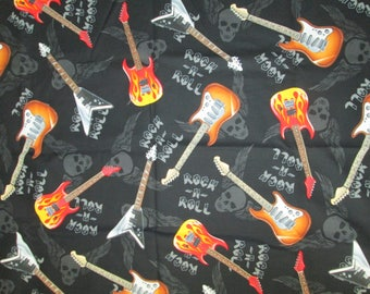 Guitars Rock And Roll Inlaid Skulls Cotton Fabric Fat Quarter Or Custom Listing