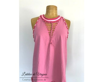 Tank top, tunic, backless cotton elasthan pink, braided neckline style bohemian chic spring summer collection