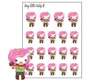 Planner Stickers Unicorn Eating Candy Apple