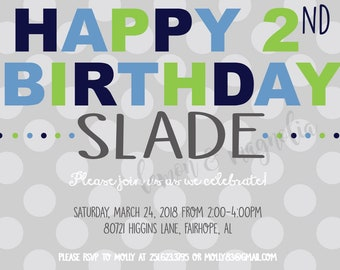 Happy Birthday Polka Dot Invitation