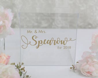 Personalized Wedding Card Box Clear Acrylic Modern Bridal Shower Engagement Party QUICK shipping  (BBND201810)