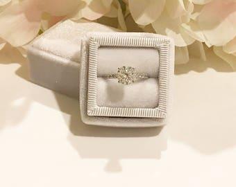 Winter White Handmade Ring Box for Wedding Rings, Engagement Rings, Fine Jewelry