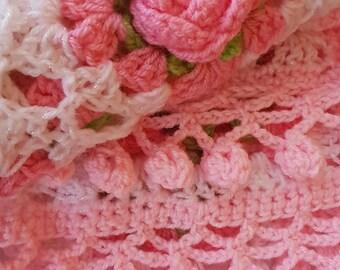 Crochet Shabby chic blanket vintage rose pom pom bobble flowers