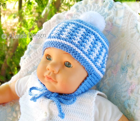 Knitting Pattern 017 Knitted Pom-Pom Ear Flap Hat Newborn Baby Boy Girl Toddler Child Unisex Adult Winter Hat Blue Red White Christmas Gift