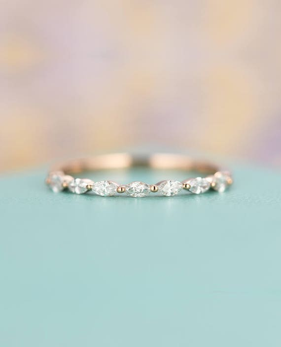 Rose gold wedding band Vintage Women Antique Marquise cut