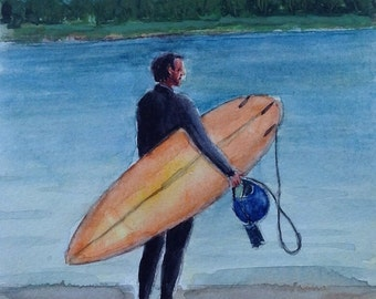 """Original watercolor painting. Surf art watercolor by Rachid Bouhouta 5""""x7"""" beach art. Surfboard painting. Shipping included"""