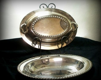 Wm Rogers Silver Plate Covered Casserole Serving Dish Fenwick 1212 Downton Abbey Vintage