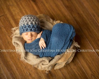 SET Chunky Gray Denim Blue Hat and Stretch Knit Wrap Newborn Photography Prop