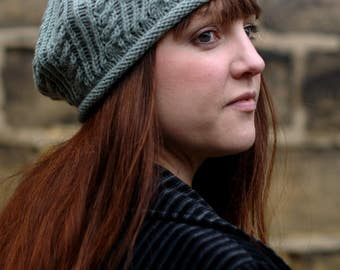 Wickery cable & lace beret PDF knitting pattern (instructions)