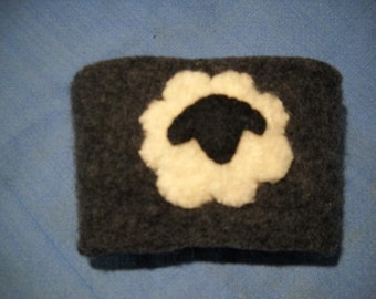Felted Wool Sheep Coffee Cozy