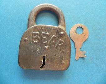 "Antique ""BEAR"" Padlock W/ Key."