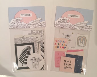 Handmade sticker packs - various designs