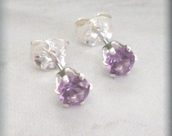 Small June Birthstone Earrings, June Birthday, Alexandrite Earrings, Post Earings, Studs, Sterling Silver, Birthstone Jewelry, Purple