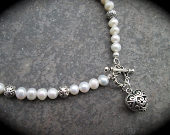 """Freshwater Pearl Necklace with Silver Filigree Heart Charm and Toggle Clasp 18"""""""