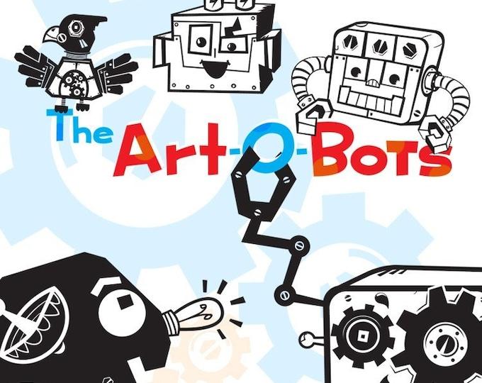 robot wall decal set, robot vinyl sticker art, friendly robot friends, art-o-bots