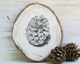 Country home decor, Natural print, Pine cone print, Rustic wall art, Farmhouse wall decor, Wood sign, Black and white sign, Pallet sign
