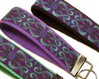 Fabric Key Fob, Fabric Keychain, Key Fob Wristlet, Purple, Key Holder, Key Chain, Fabric Key Holder, Keychain, Designer Key Fob