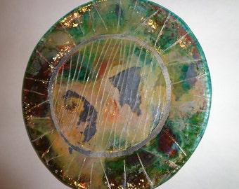 Ceramic Platter/RAKU/Decorative Platter/Wall Hanging/Ceramic Wall Hanging/Clay Plate by Leslie Farin