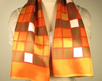 Vintage Long Orange Red Brown Scarf