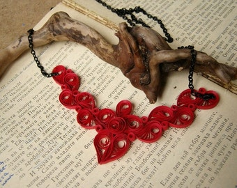Red Paper Necklace for First Anniversary, 1st Anniversary Gift for Her, Wedding Anniversary Women, Fashion Necklace, OOAK Jewelry