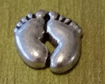 1 - Silver Baby Feet Charm - Floating Pendant - Floating Locket - Memory Pendant - Memory Locket - The Size is 7mm