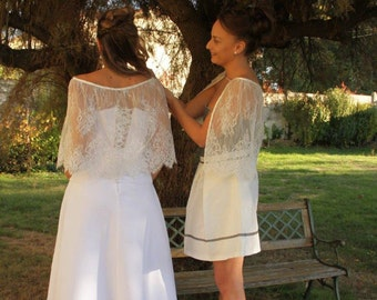 Bridal lace cape , bridal cape , bridal capelet,bridal cover up