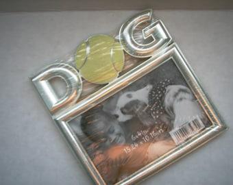 DOG Picture Frame Metal Frame Silverstone Frame Photo Frame Yellow Tennis Ball Dog Frame Photo Holder Unique Vintage Photo Frame Dog Frames