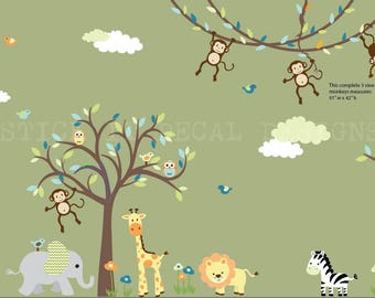 Jungle Decals, Jungle Wall Decals, Nursery Wall Decal, Monkey vine decal, Giraffe, Elephant, Lion, Zebra, 4 Monkeys, XXXL Celery Mist Design