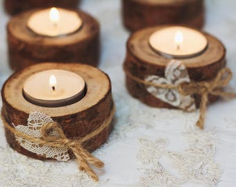 50 set Rustic candle holders Valentine table decor Wood tealight holders Woodland Rustic wedding decor Eco wood home decor Lace table decor