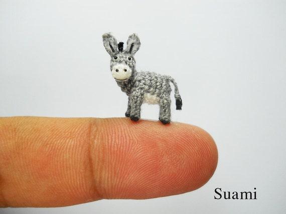 Miniatur-Esel 06 Zoll Mikro häkeln Tiere auf Bestellung