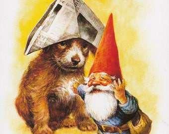 Vintage art print 80s. David the gnome with his friend the puppy. By Rien Poortvliet.