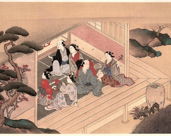 1906, Japanese antique woodblock print, Nishikawa Sukenobu, from Ukiyoe-ha-gashu.