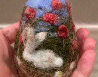 Easter egg, felted Easter, needle felted bunny, needle felted rabbit, spring decor, Easter decor, spring ornament, Easter ornament, spring