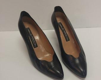 Maud Frizon Vintage Leather Kitten Heels Pumps Made in Italy 80s Catwalk Runway Model