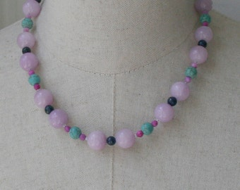 Petite Beaded Necklace in Lavender Turquoise Navy