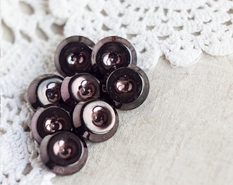 Dark brown buttons_shank buttons_set of eight_metal copper tint_diameter 18 mm 0.7''_hollow center_round plastic buttons_retro craft supply