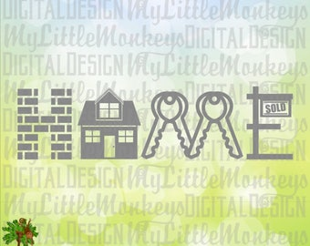 Home SVG ~ Home Word Art ~ Home Sign SVG ~ Real Estate Agent ~ Closing Gift ~ Commercial Use SVG ~ Clip Art ~ Cut File eps dxf png