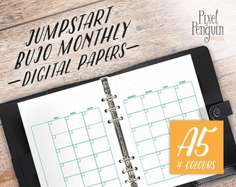 A5 Planner Insert, Undated Planner, Printable Planner Pages, Planner Refill A5, Bullet Journal Monthly, Undated Monthly Planner Insert