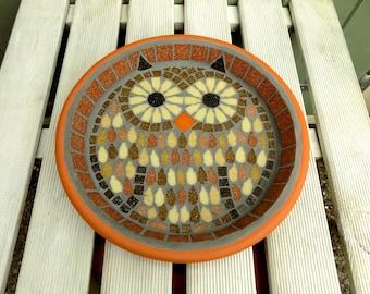 Tawny Owl Mosaic Garden Yard Bird Water Bath Ornament Decoration
