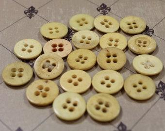 Antique Bone Buttons 20 Underwear Bone Buttons Reenactment Flat 4 Hole Bone Button