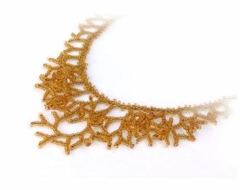 Honey Gold Necklace. Bridesmaid Necklace. Wedding Necklace. Golden Necklace. Beadwork.
