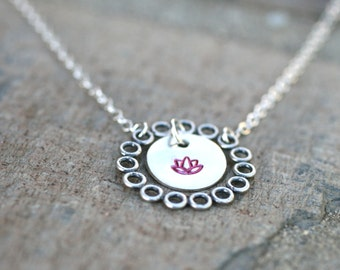 Regrowth rebirth etsy sterling silver lotus flower hand stamped disc necklace lotus flower jewelry yoga necklace aloadofball Choice Image