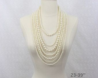 Layered Long Pearl Necklace Seven Strand Chunky Pearl Necklace Ivory Bridal Pearl Statement Necklace Flower Brooch Clasp