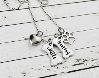 Personalised Dog Bone Necklace, Hand Stamped Pet Name Necklace, Pet Jewelry, Dog Lover Gifts, Dog Bone Jewelry, Custom Pet Name Jewelry