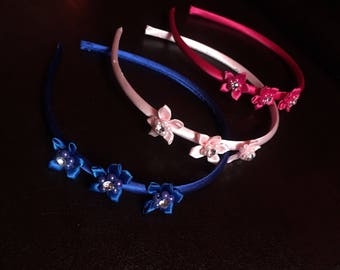 Floral rhinestone silk headband for girls